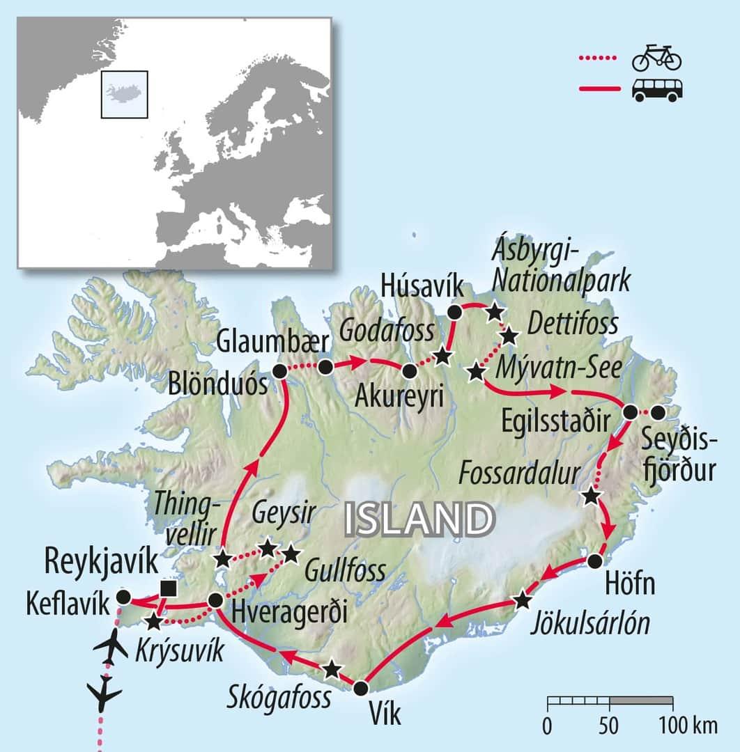 Radreise und Flugreise Island
