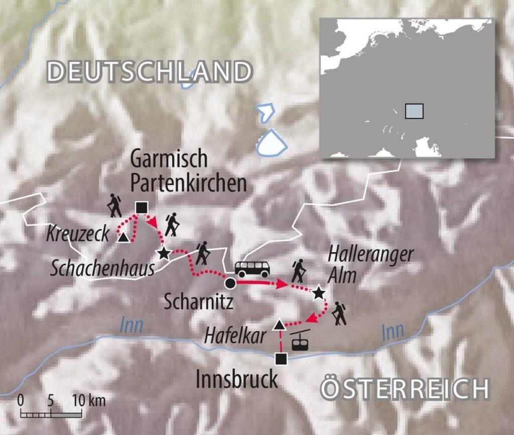 Wandertour von Garmisch nach Innsbruck - Tirolerweg