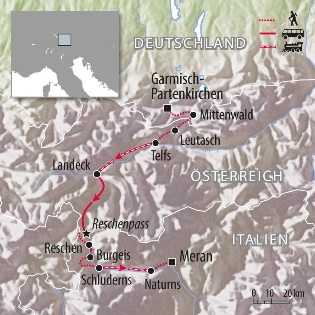 Wandern von Garmisch nach Meran Bayern und Südtirol Route