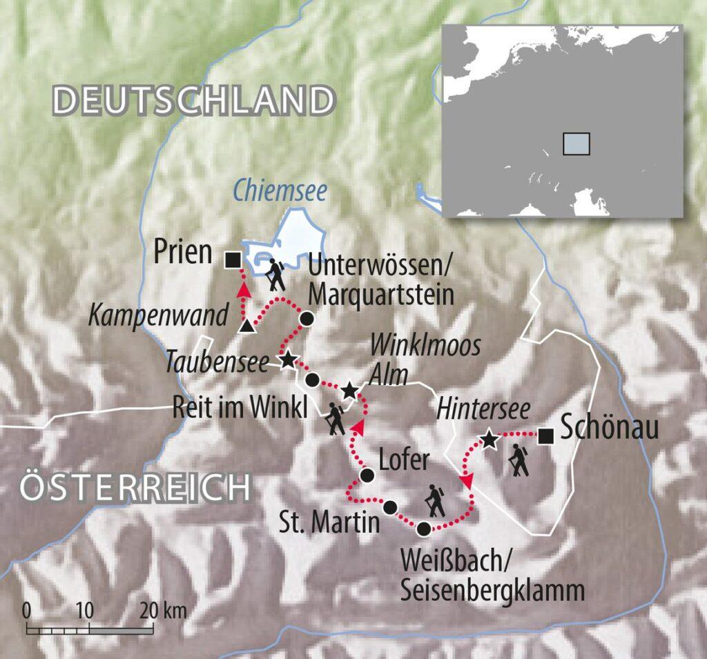 Wanderweg Königsee zum Chiemsee Chiemgau