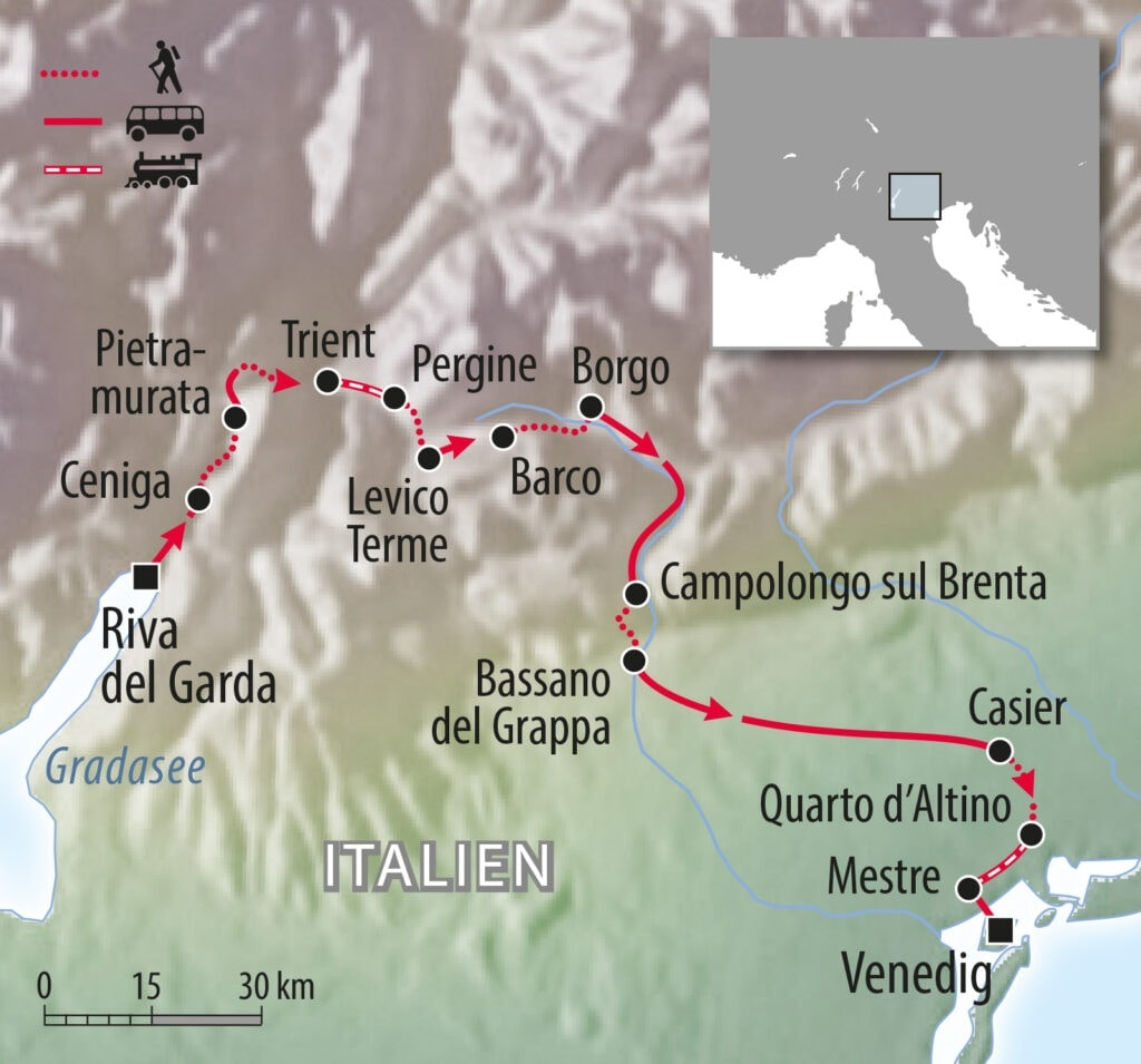 Wanderweg Gardasee nach Venedig in Italien