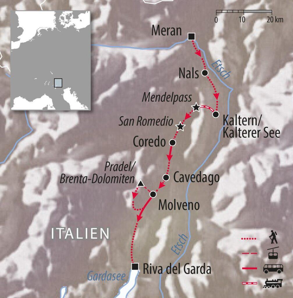 Wandertour Meran Südtirol zum Gardasee Italien