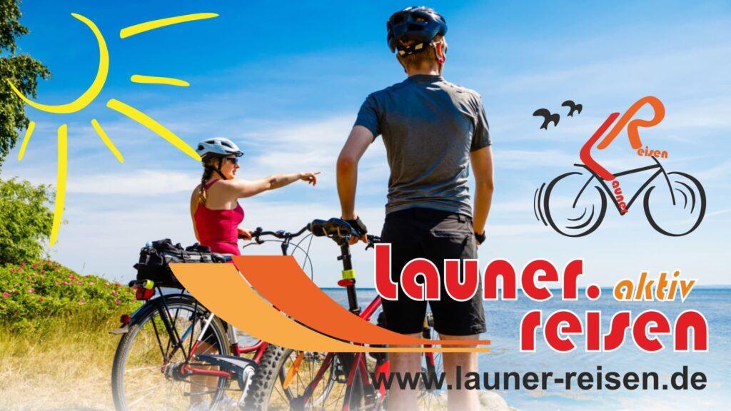 Radfahrer mit Launer-Reisen Logo