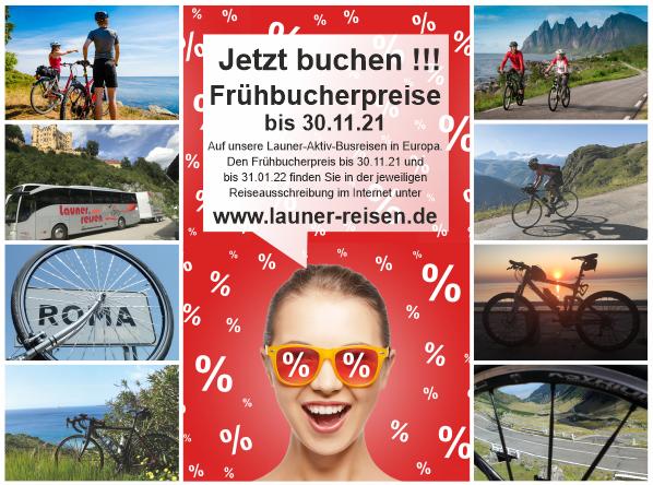 Frühbucherpreise Radreisen Wanderreisen Launer-Reisen